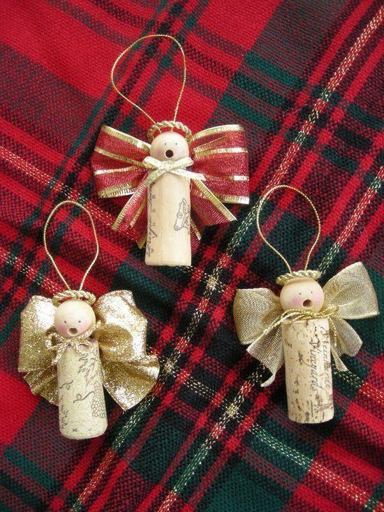 Wine Cork Christmas Ornaments Homemade   Caroling Cork Angels / Set Of 3 By  Judystephenson On