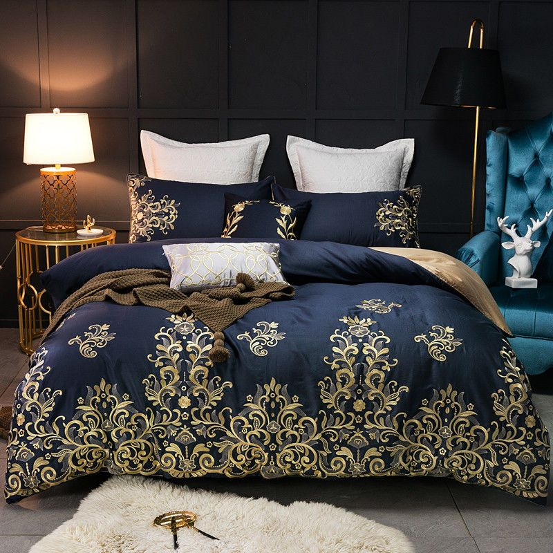 7pc Luxury Palace Egyptian Cotton Blue Gold Queen King 500tc Duvet Cover Set Ivarose Palace Duvet Bedding Sets Luxury Bedding Comforter Sets Blue and gold comforter set king