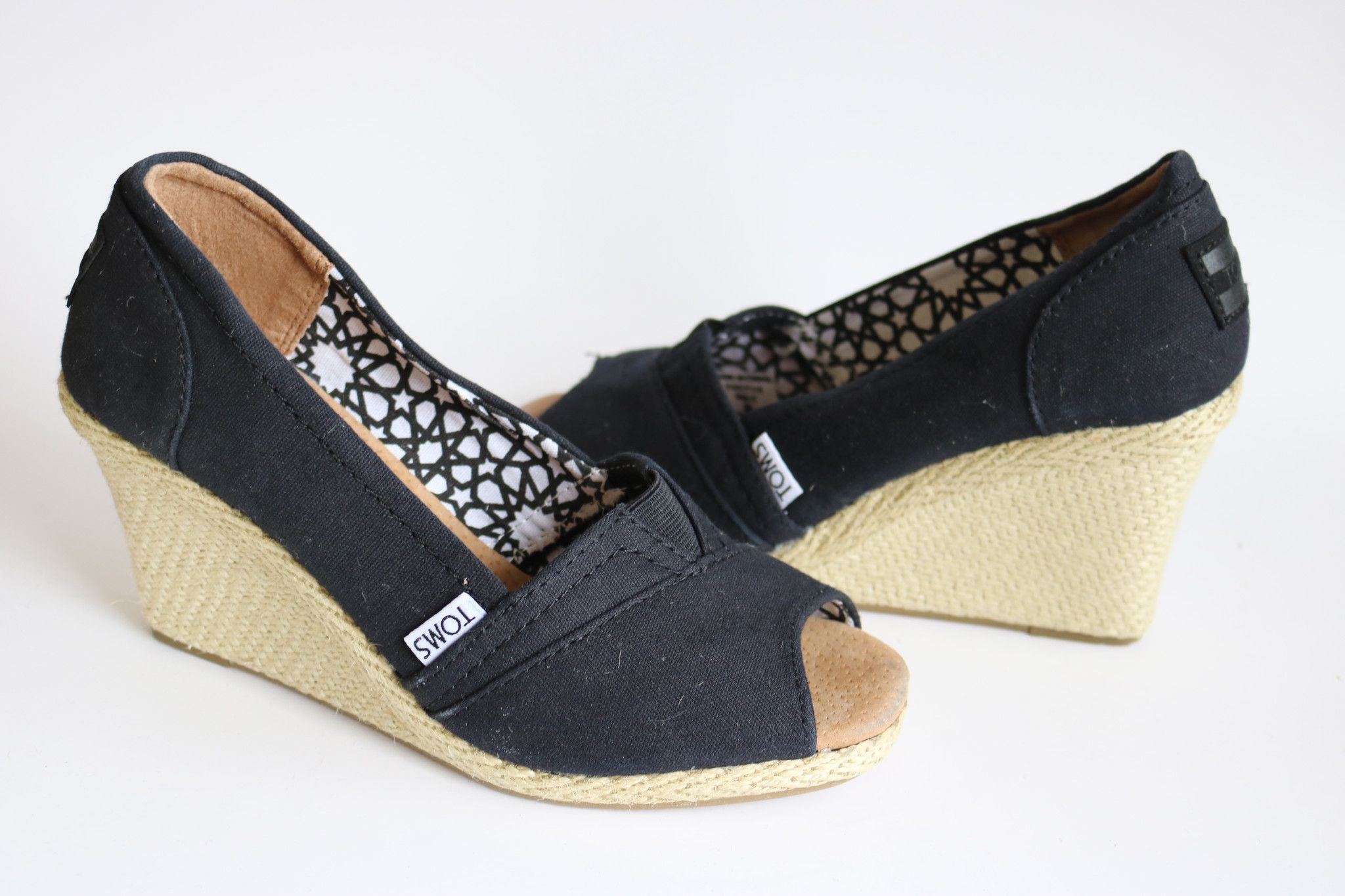 be0516e613a Toms Black Womens Canvas Wedge High Heels Peep Toe Sandals Shoes Size 6.5 - Wedge  heel-height is 3 1 4   - Natural Canvas upper and lining materials for ...