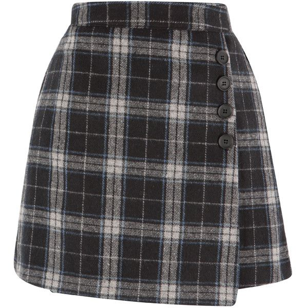 1c1bf7bca8 Check Button Detailed Faux Wrap Skirt ❤ liked on Polyvore featuring skirts,  mini skirts, faux wrap skirt, elastic waistband skirt, faux-leather skirts,  ...