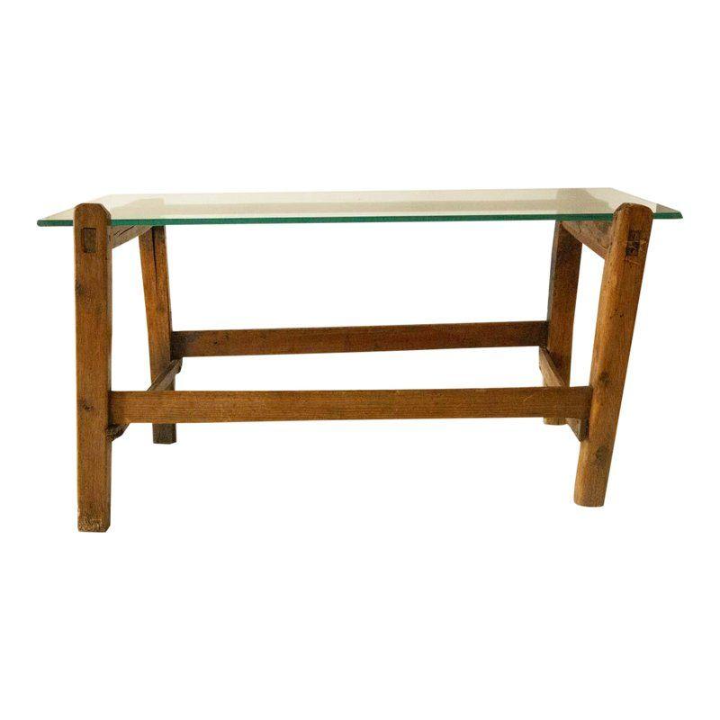 1970s Rustic Wood Coffee Table With A Glass Top Couchtisch Holz Wohnzimmertische Und Rustikale Couchtische