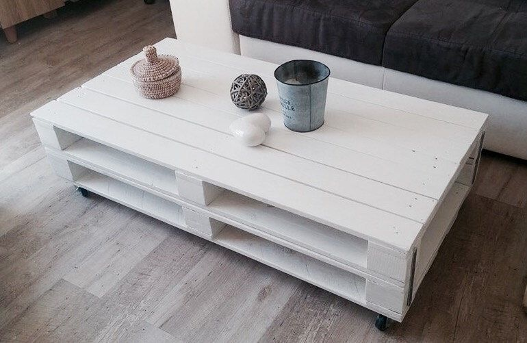 Table Basse Blanche En Bois De Palettes Style Industriel Diy Table Diy Nightstand Bedside Table Diy