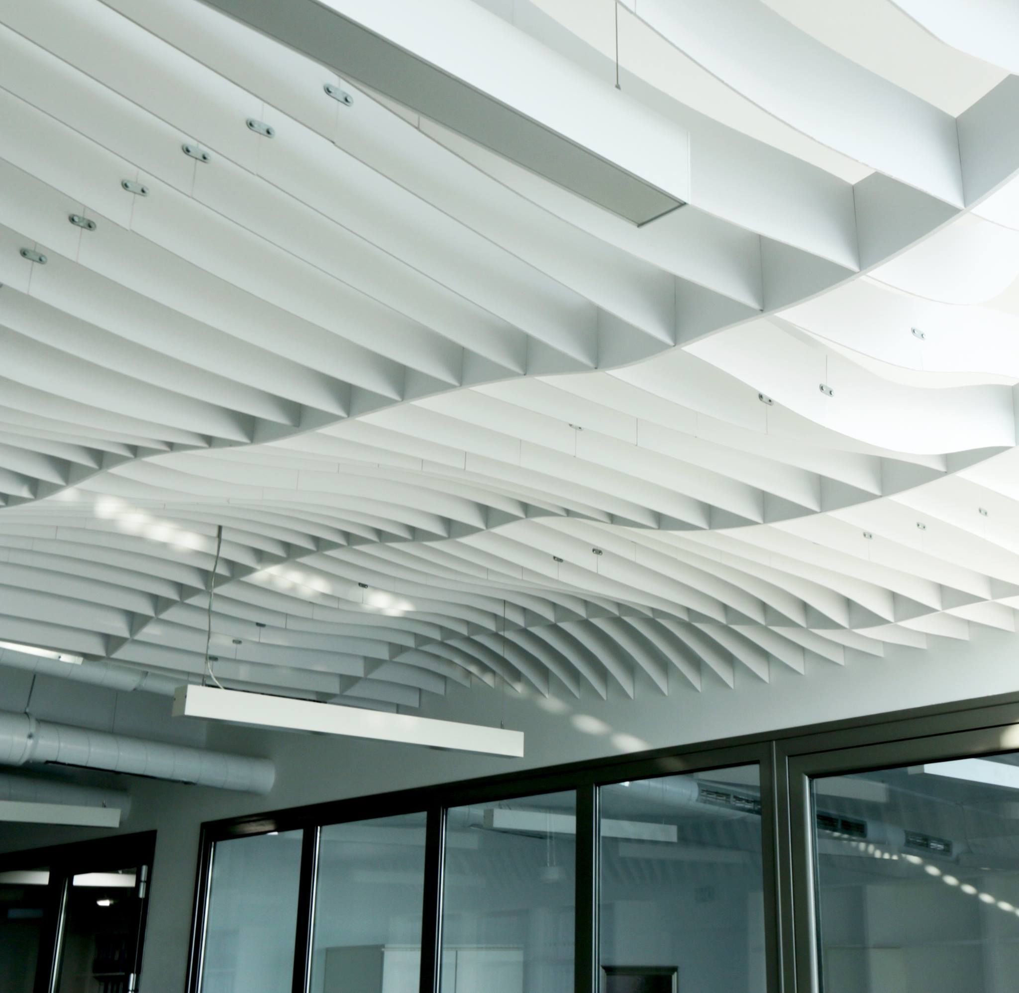 Parametric ceiling above office workspace, Sofia, Bulgaria