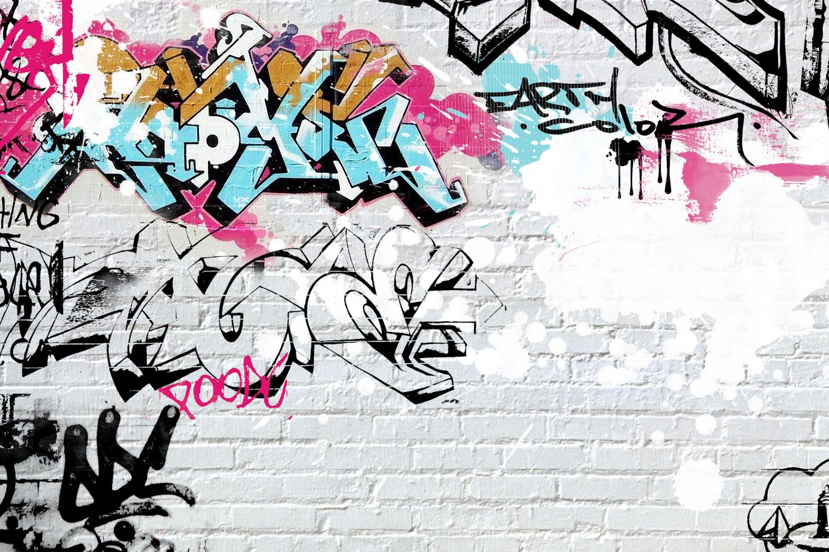 White Wall Graffiti Wallpaper Wall Mural ~ Papel De Parede Grafite Para Quarto