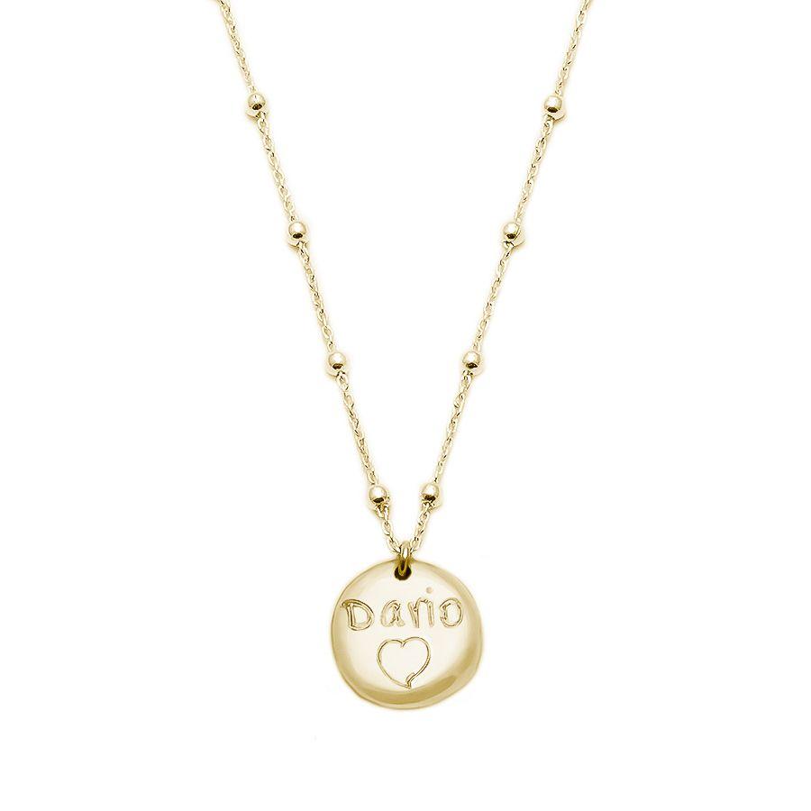 7c88e97d30b5 Colgante de plata chapado en oro con medalla personalizable redonda ...