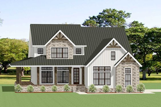 Plan 46342la 4 Bedroom Open Concept Craftsman Home Plan With Den And Bonus Room Craftsman House Plans Craftsman House House Plans Farmhouse
