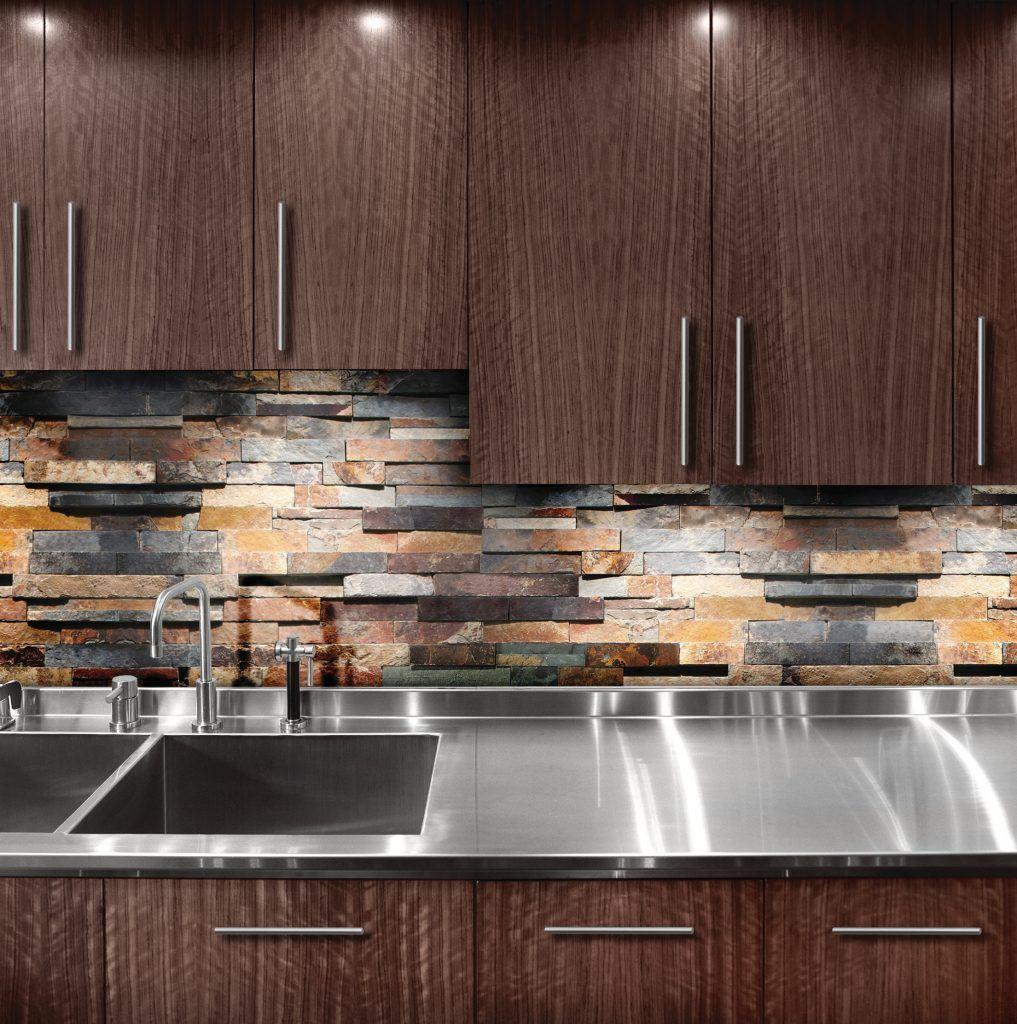 6 X 24 Sierra Slate Ledger Stone Tile Hobo Kitchen Cabinet Layout Interior Design Kitchen Slate Wall Tiles