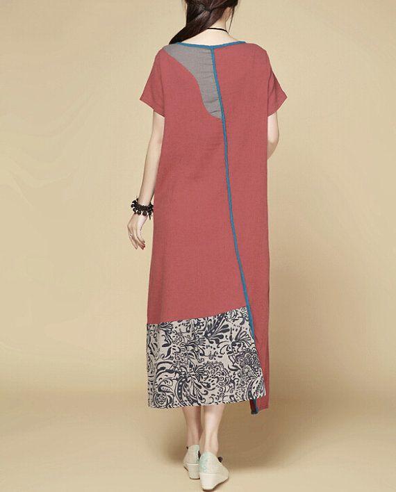 Women Summer Maxi dress/ Loose Fitting short sleeved by MaLieb