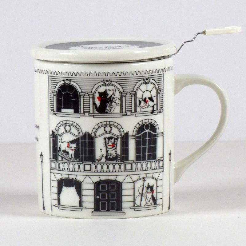 Photo of 'Musical Villa' Cat Mug with Tea Strainer