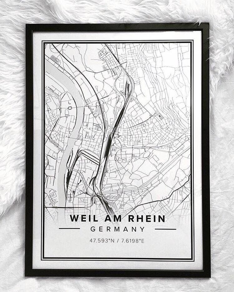 Map poster of weil am rhein germany print size 50 x 70 cm