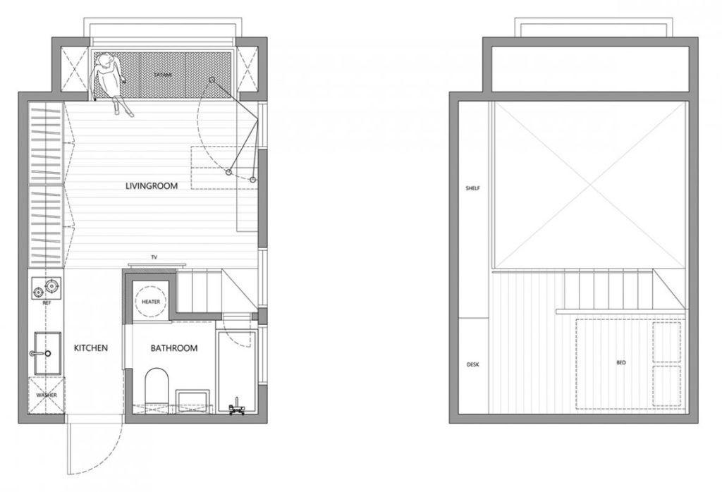 Un Petit Appartement De 22 M2 Petit Appartement Plans Petits Appartement Plan Petite Maison