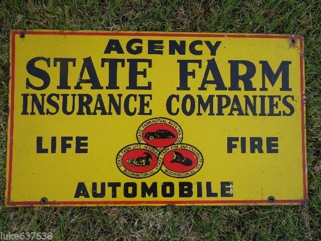 Vintage State Farm Insurance Companies Double Sided Painted Metal