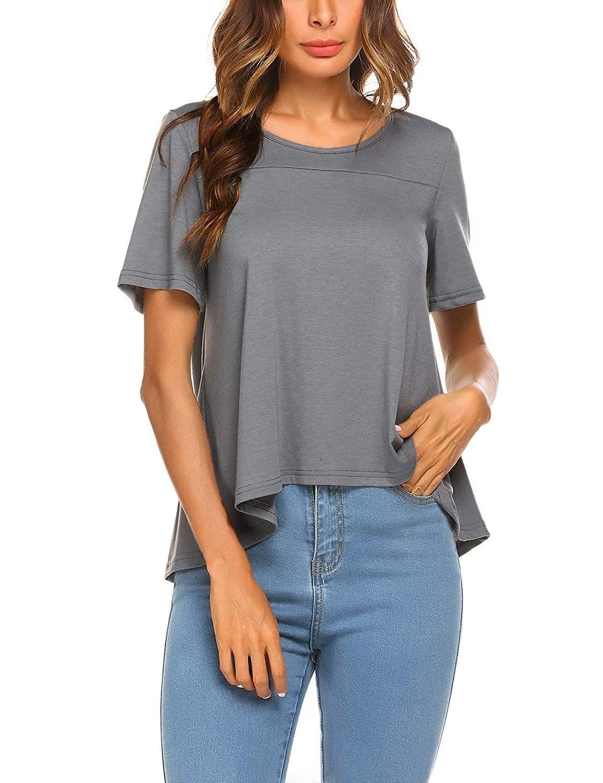 caa479364 Women's Casual Short Sleeve Loose Fit T Shirts Tops Solid Plain Shirts -  Grey - C618C3QQHI7,Women's Clothing, Tops & Tees, Knits & Tees #women # fashion ...