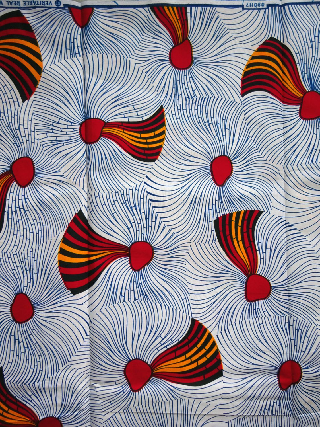 White and light blue African print Fabric for African dress skirt ...