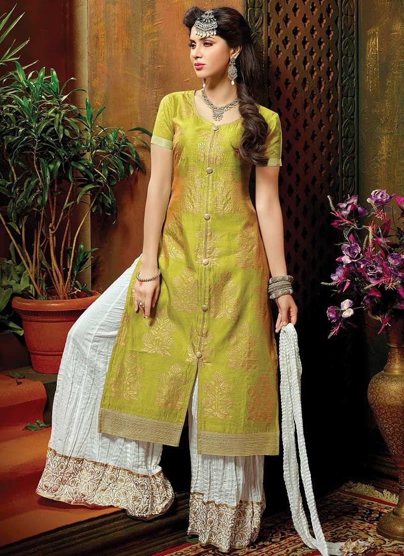 b2d6d6852f0 Mustard Green Chanderi Silk Palazzo Suit