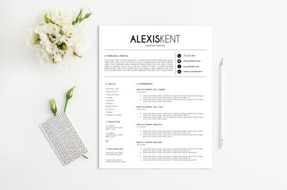 Resume Template Free Matching Cover Letter CV by lecvshoppe
