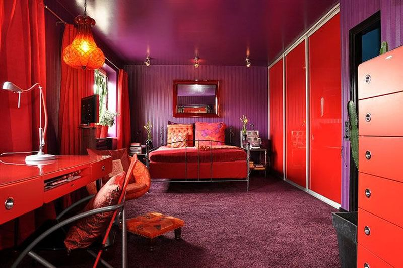 Apartments : Colorful Bedroom With Wonderful Red Desk Wonderful Arm Chair Wonderful Chandelier Modern Fur Rug Modern Red Pillow Wonderful Red Curtain Modern Red Vase Modern Table Wonderful White Table Lamp Swedish Apartment with Spectacular Red Colors Accent Small Spaces. Apartment Spaces. Swedish Apartment ‎.