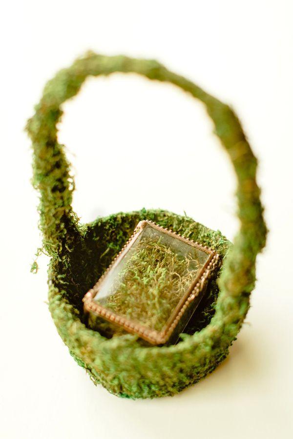 ring box in a moss basket, photo by Christopher Nolan Photography http://ruffledblog.com/farm-inspired-colorado-wedding #ringbearer #wedding