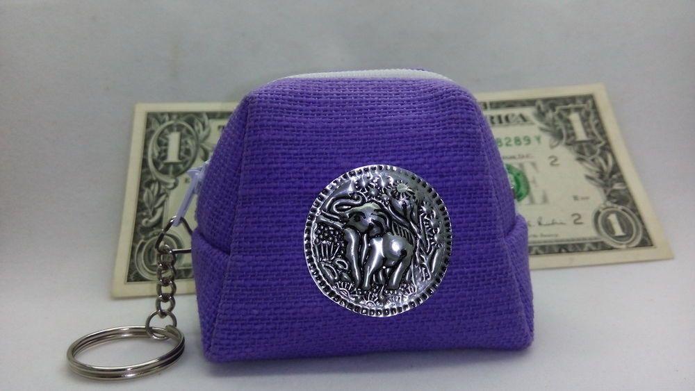 Small Wallet Fabric Thai Elephant Image Money Purse Bag Key Chain