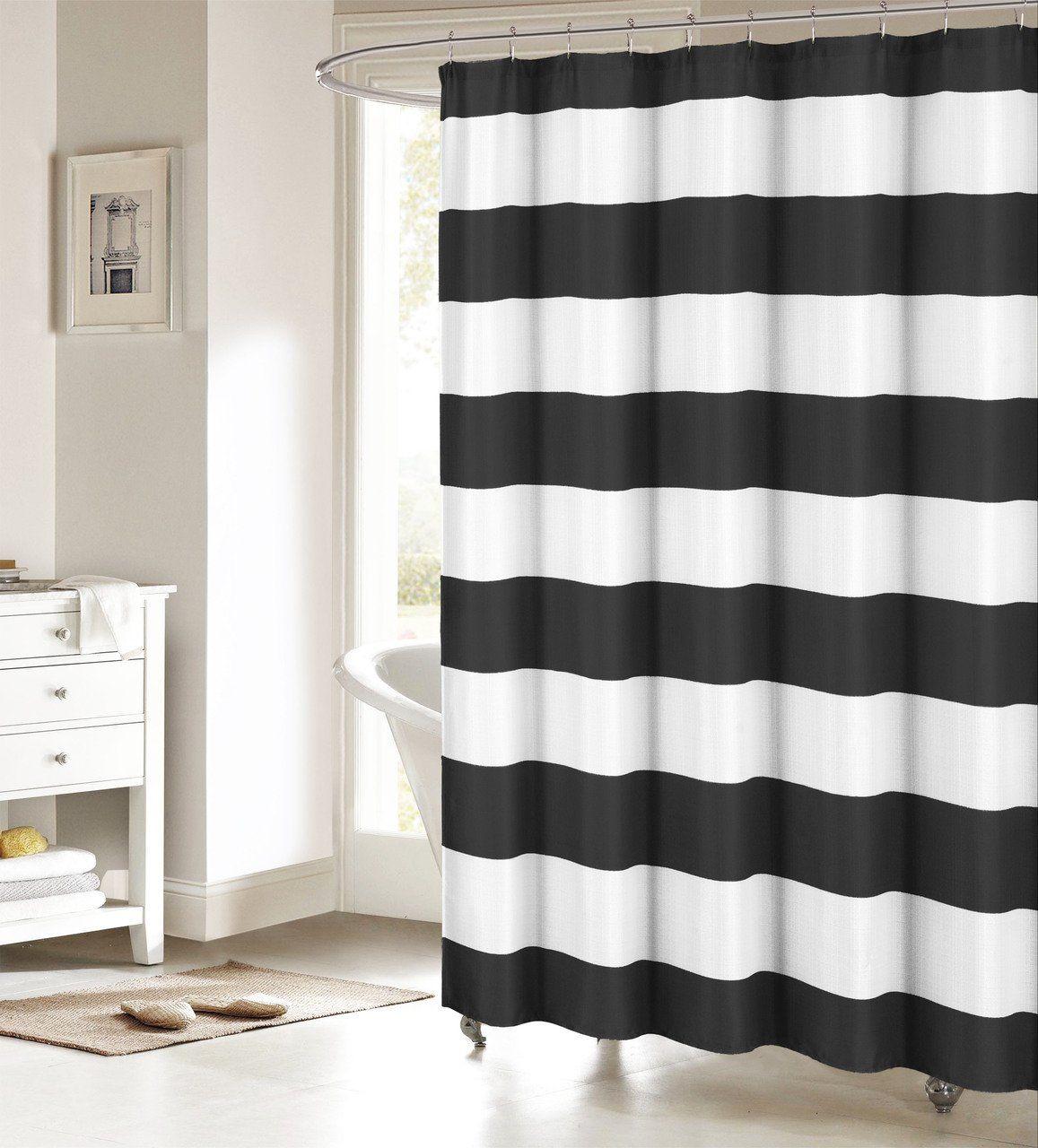 Fabric Shower Curtain: Nautical Stripe Design (Black and White ...