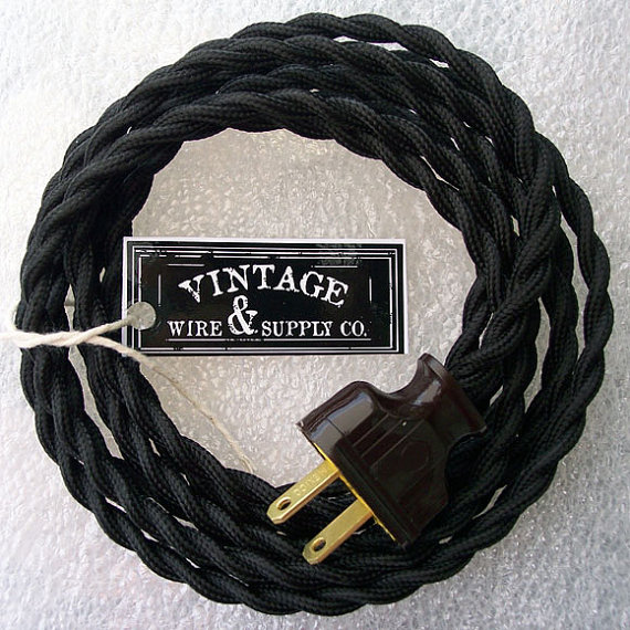 Lamp Cord - Cloth Covered Wire - 8-ft Cordset - Vintage Style Lamp ...