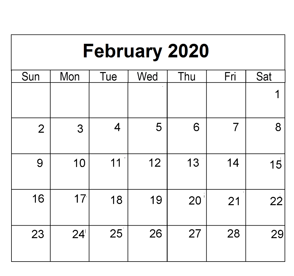 Free Editable February 2020 Calendar In PDF, Landscape