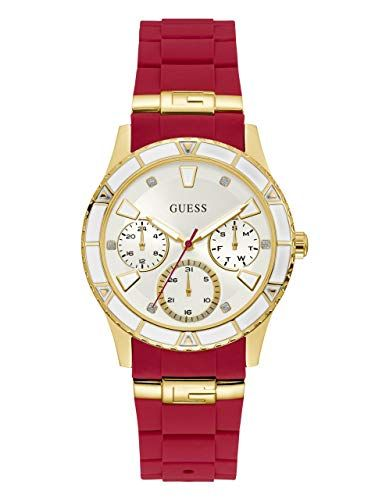 GUESS GoldTone Iconic Red Stain Resistant Silicone Watch with Day Date 24 Hour Mili