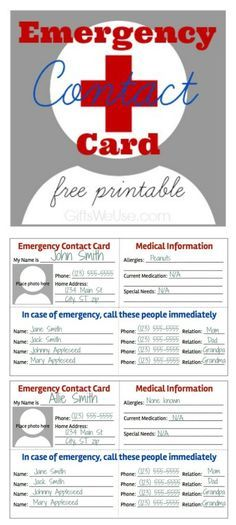 Emergency Contact Card Free Printable Gifts We Use Craft Ideas