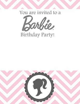 Pin by Lori Shores on Kids Party Ideas Barbie birthday invitations