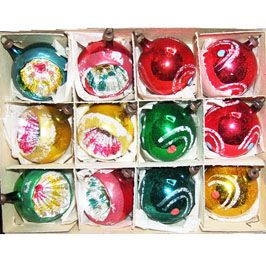 Shiny Brite ornaments, about .10 at Woolworths in the 50's.