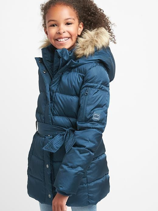 d8f9f048 Gap Girls Down Tie-Belt Puffer Parka New Navy | Products in 2019 ...