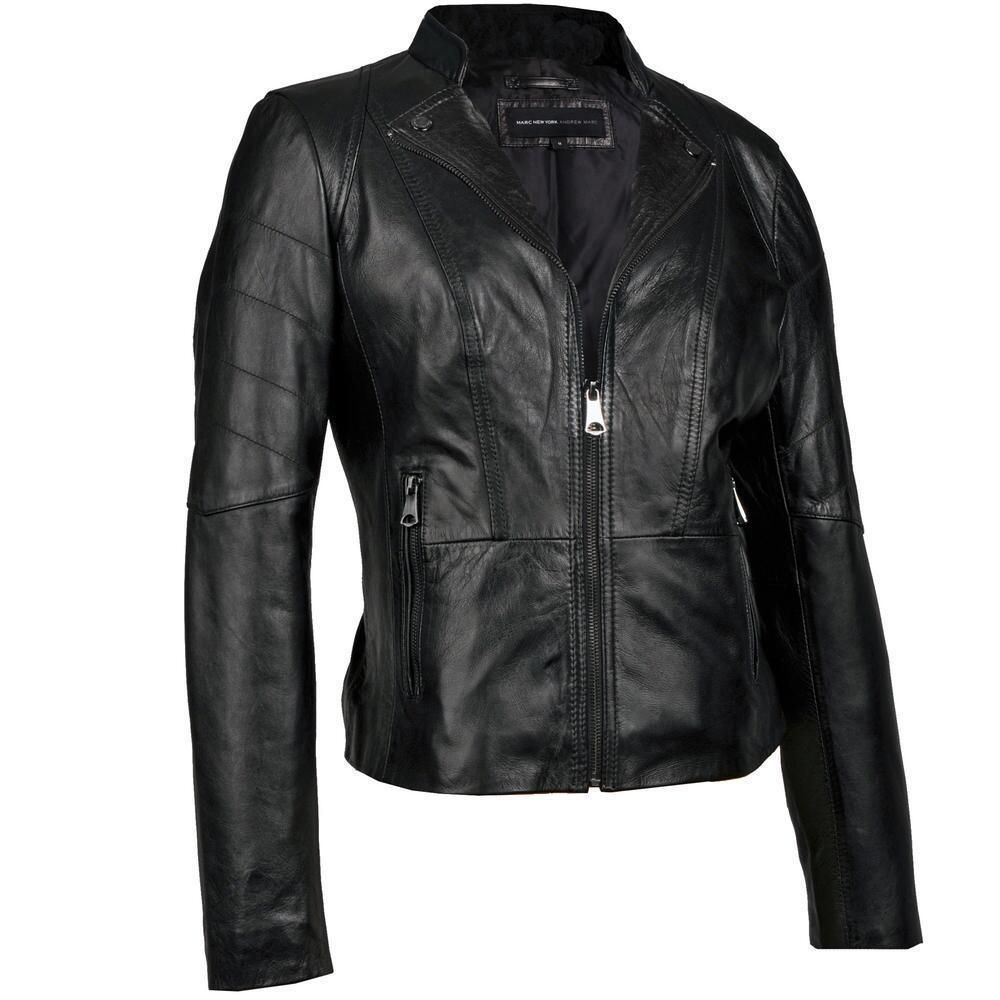 Black Friday Womens Black Soft Lambskin Leather Biker Motorcycle ...