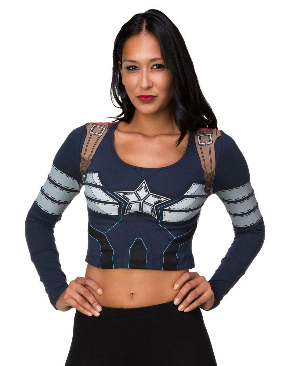 8a7d0354696e0d Captain America Longsleeve Crop Top – Spirit Halloween