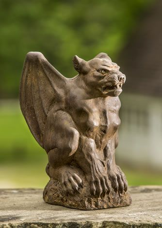 Grotesque Bronze Effect Gargoyle// Rams Head Garden Ornament