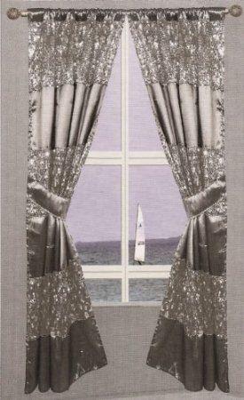 Amazon Com Popular Bath Sinatra Silver Window Curtain Home