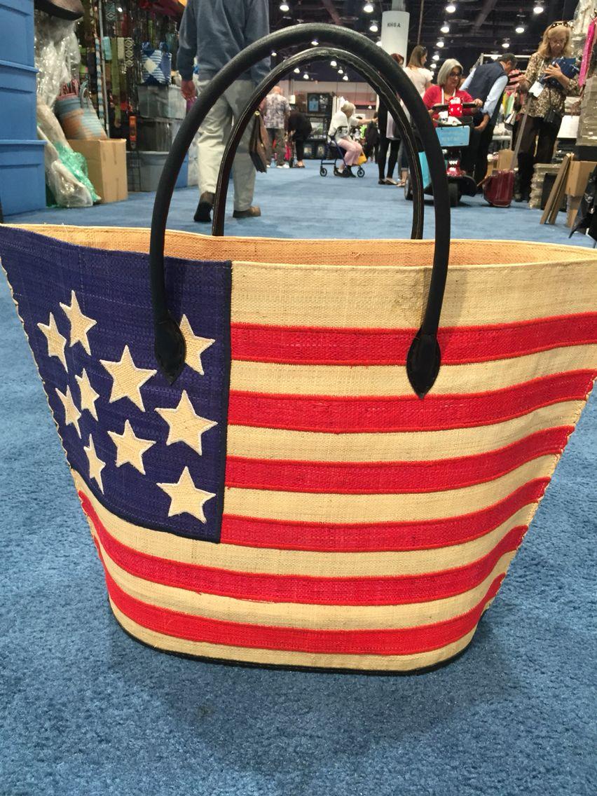 Shebobo American Flag Bag made of raffia from Madagascar.   Shebobo ...