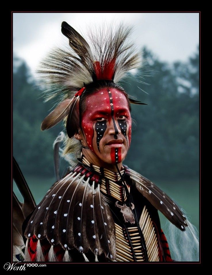 An Algonquin Native In Full Ceremonial Dress Native Americans