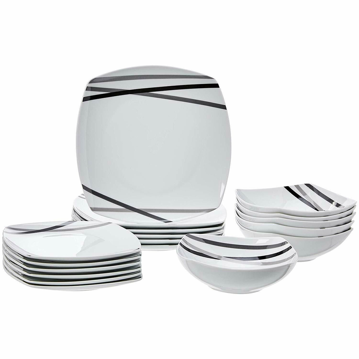 Dinnerware Set Kitchen Service For 6 Porcelain Plates Modern