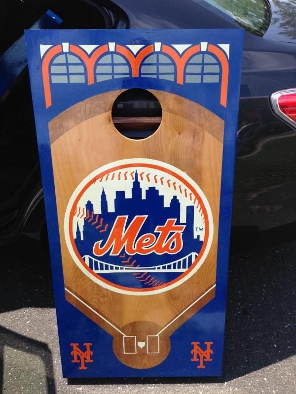 Mets Baseball Cornhole Board