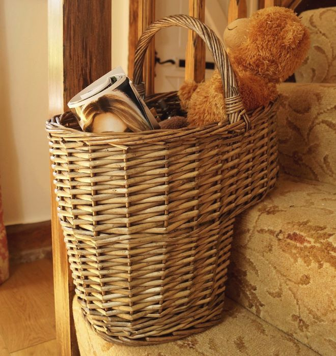 Attractive Wicker Stair Basket