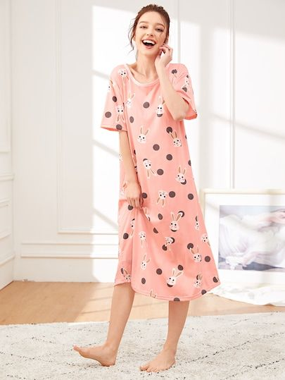 reputable site 845f4 47596 Floral & Leaf Print Plush Pajama Set in 2019 | Nachthemden ...