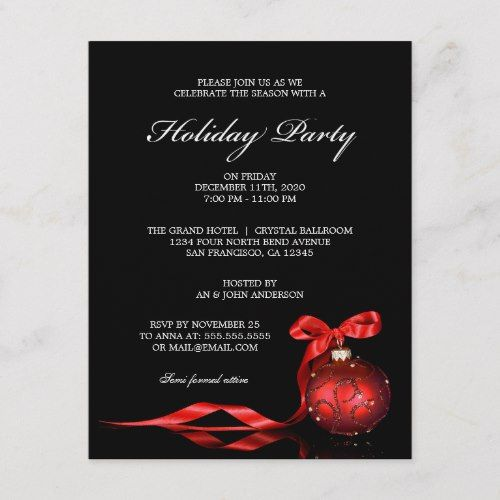 Elegant Holiday Party Invitation Template in 2018 Christmas