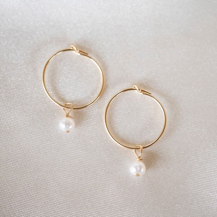 Pearl Hoop Earrings, Gold Filled Hoops, Gold Hoop Earrings, Gold Hoops, Dainty Hoops, Holiday Gift,