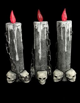 battery operated light up big gothic 16 inch tall multi level skull lighted candle lamp one piece looks like 4 halloween decoration lited halloween castle