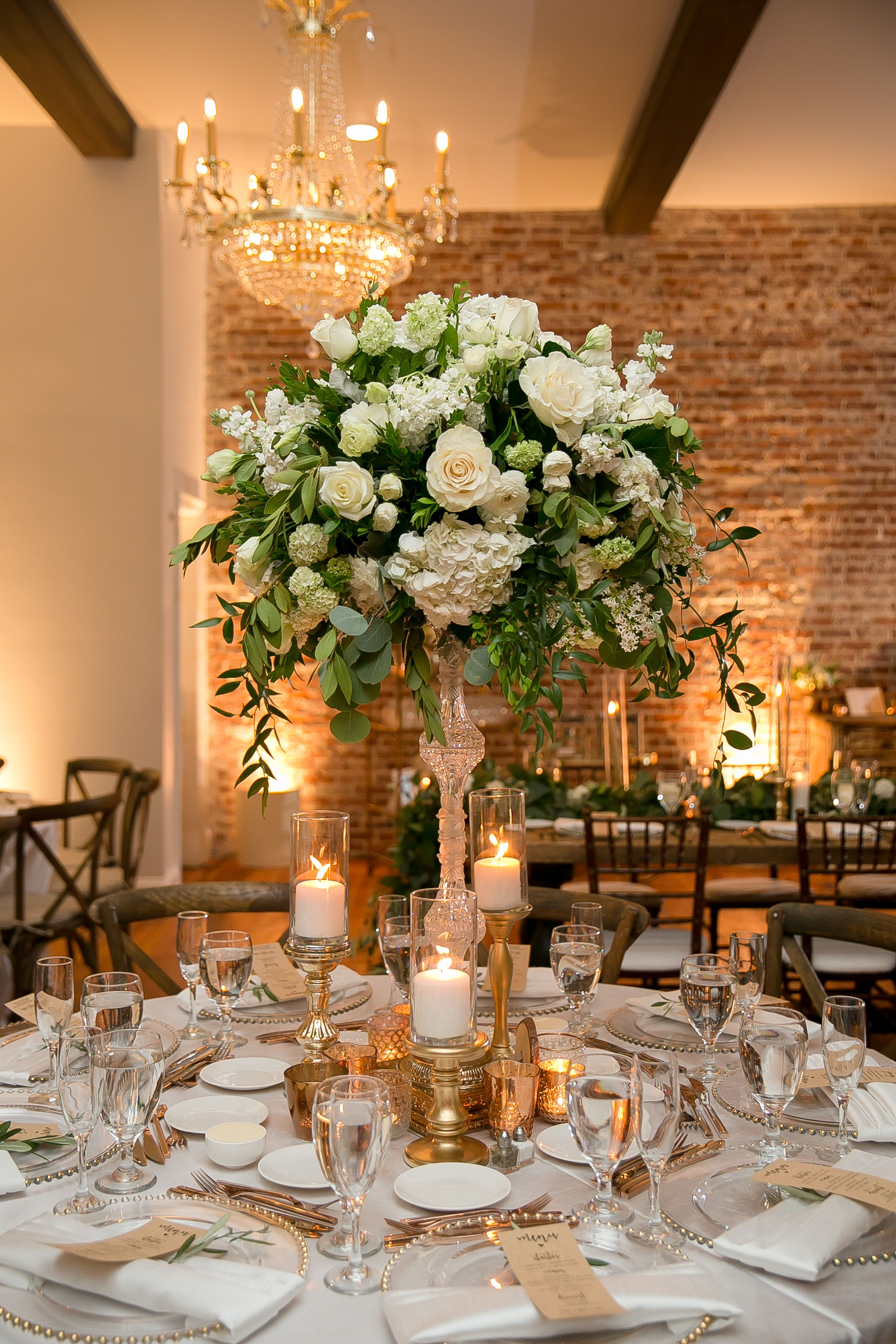 Gold White And Green Reception Decor And Centerpieces Alec