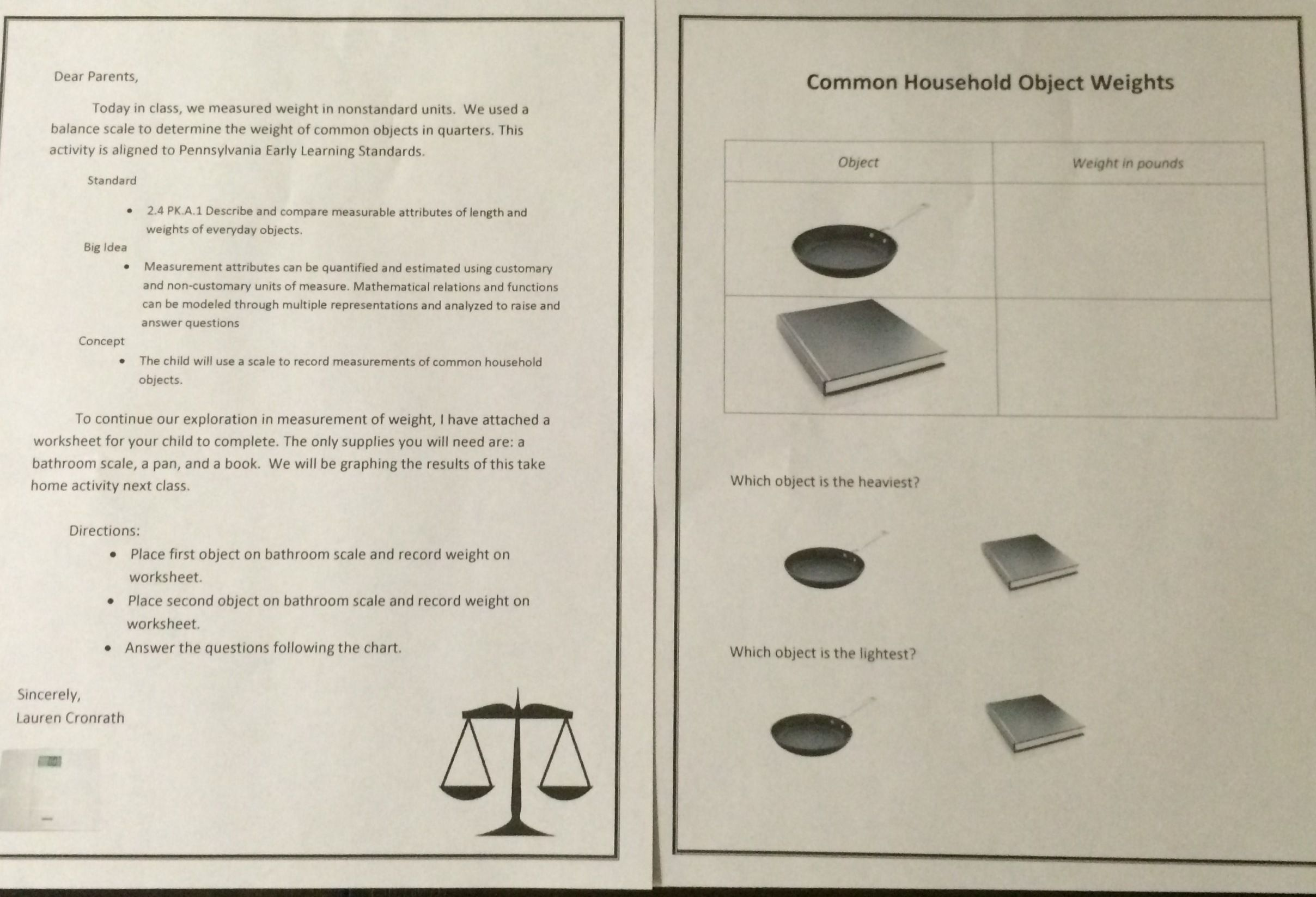This Take Home Activity Extends On The Lesson I Implemented In Class We Determined The Weight Of Objects In Quart Practicum Student Home Activities Activities