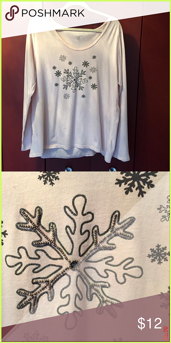 Long Sleeve Snowflake Tee Shirt Loft  s soft long sleeve tee Beaded snowflake design 100 cotton Neve...