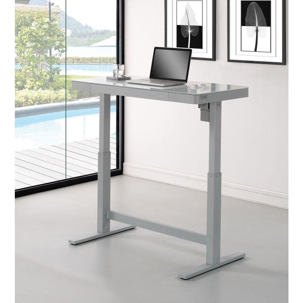 Adjustable Height Glass Top Desk 47 25 Quot W X 25 5 Quot D
