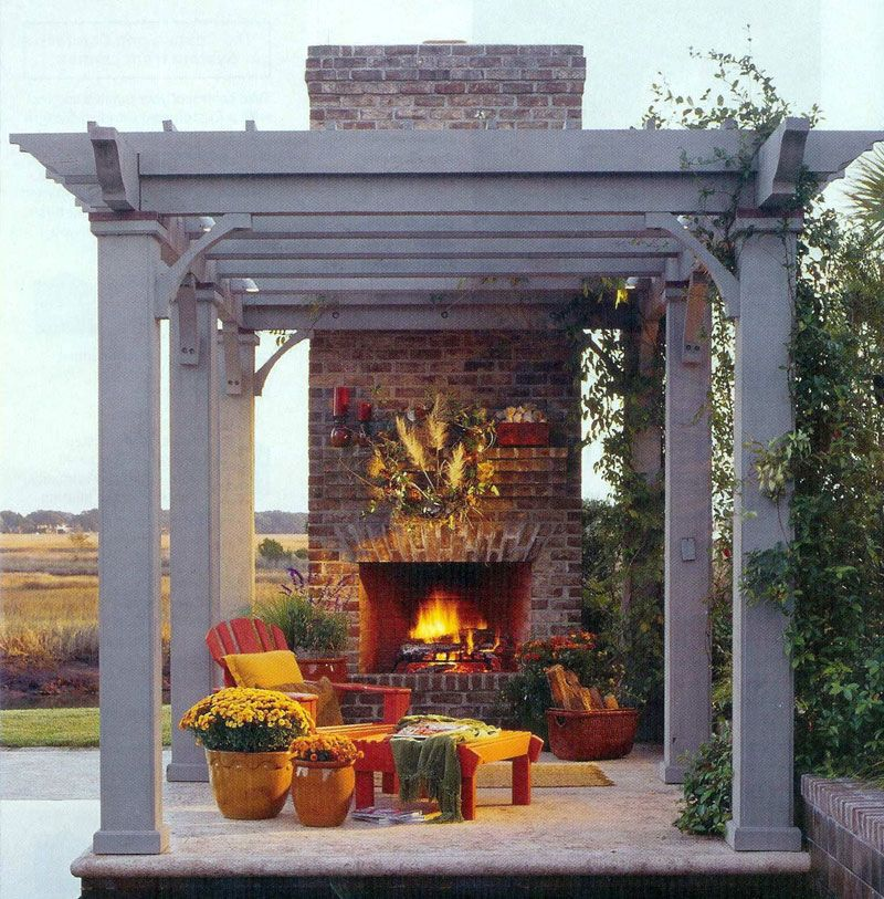 pergola with fire place... only I want it with lots of seating for friends and family to enjoy with me.