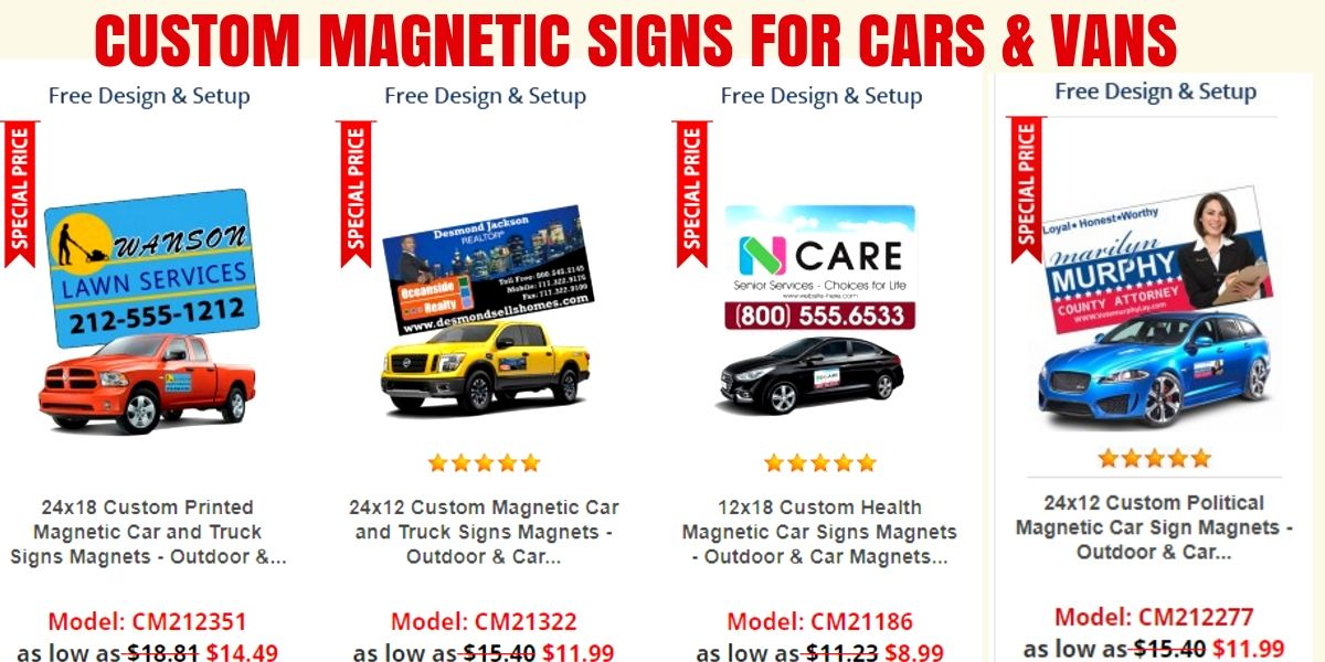 100 made in USA, these custom signs for cars and